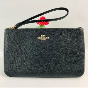 Coach Zip Long Black Wristlet Wallet